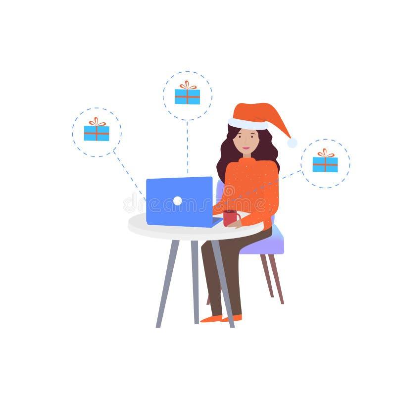 La femme dans le chapeau de Noël travaille sur l'ordinateur et envoie les cadeaux de salutation de Noël et de nouvelle année illustration libre de droits