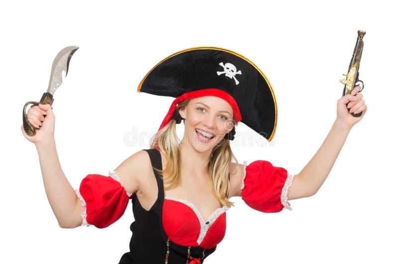 La femme dans le costume de pirate photographie stock libre de droits