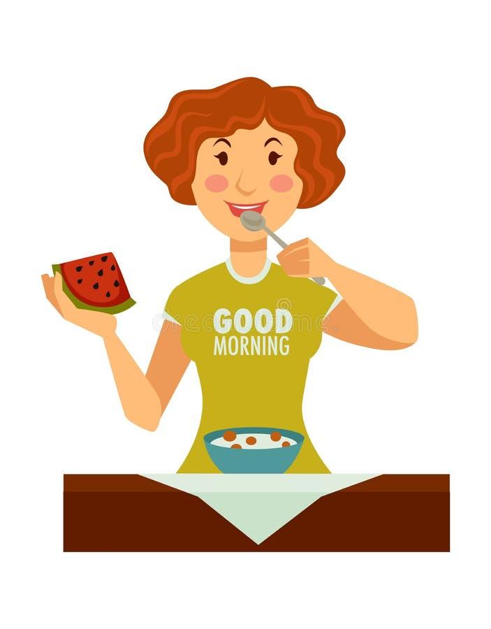La femme dans le T-shirt bonjour commence jour avec le petit déjeuner approprié illustration libre de droits