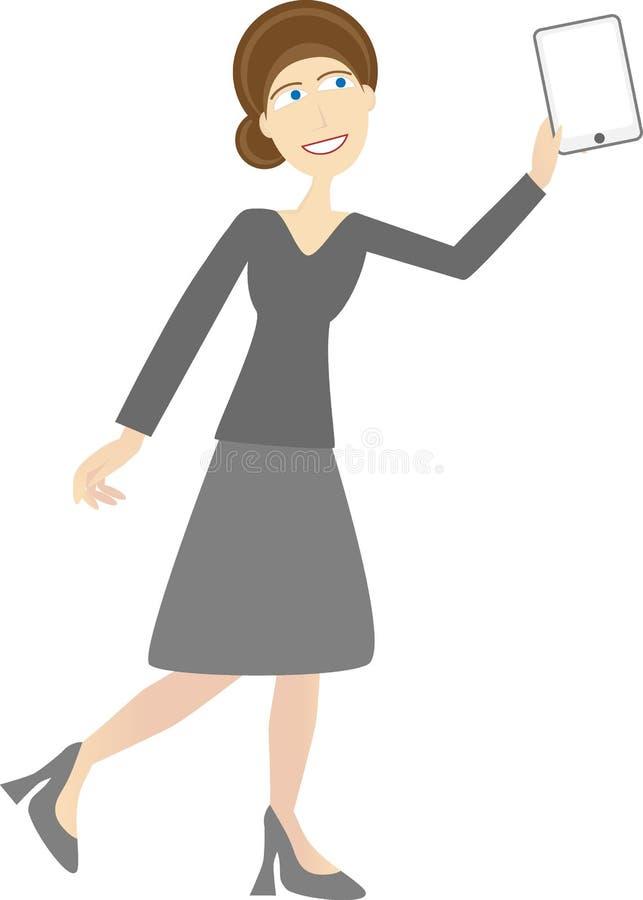 La femme dans le vêtement occasionnel d'affaires retient la tablette illustration libre de droits