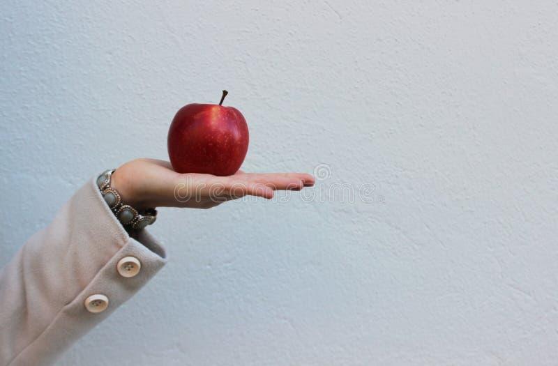 La femme dans un manteau tient une pomme savoureuse rouge images stock