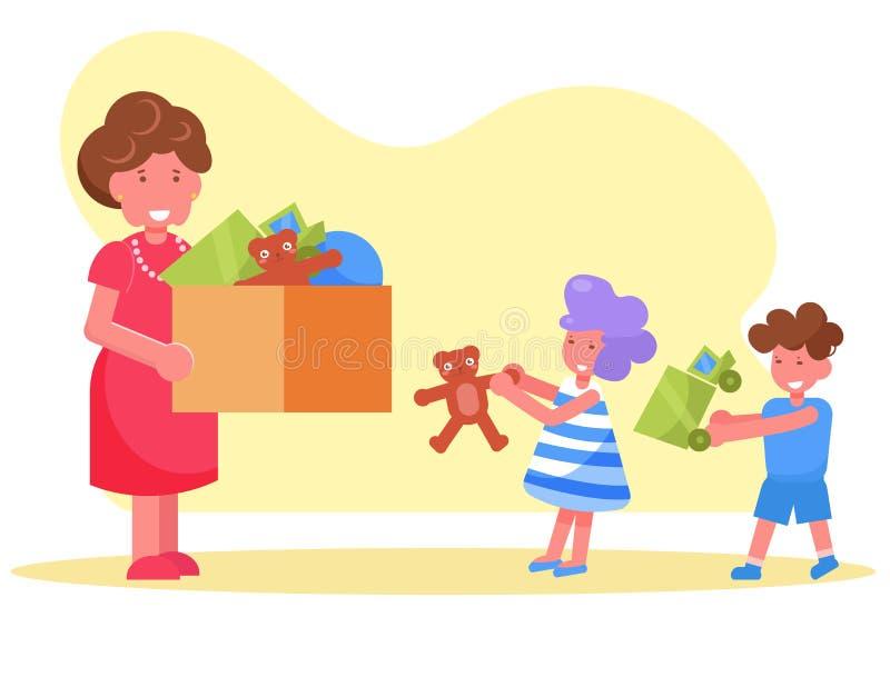 La femme de charité donne des jouets aux enfants de l'abri illustration stock