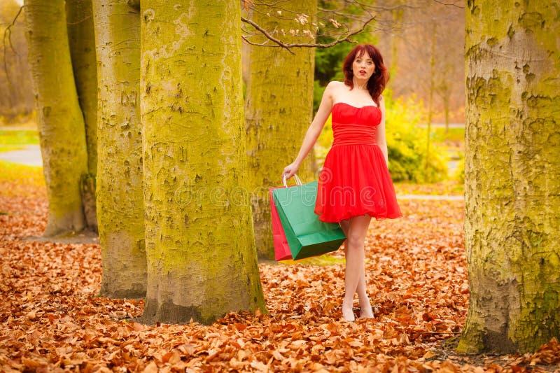 La femme de client d'automne avec la vente met en sac extérieur en parc photo libre de droits