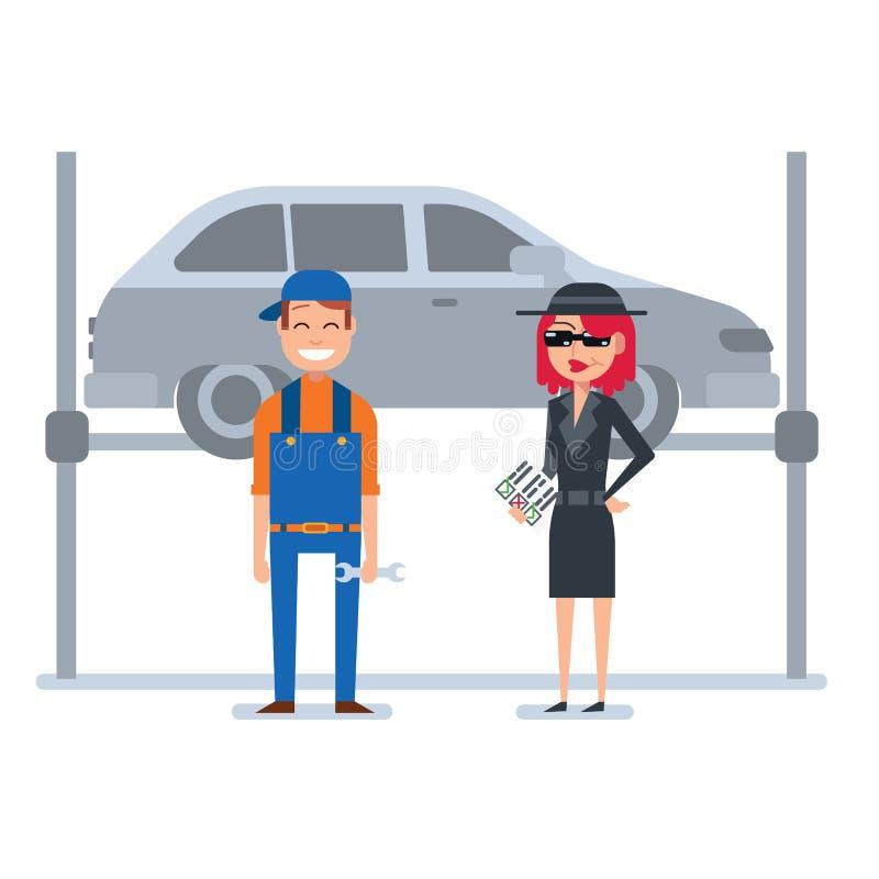 La femme de client de mystère dans le manteau d'espion vérifie le mécanicien de voiture illustration de vecteur
