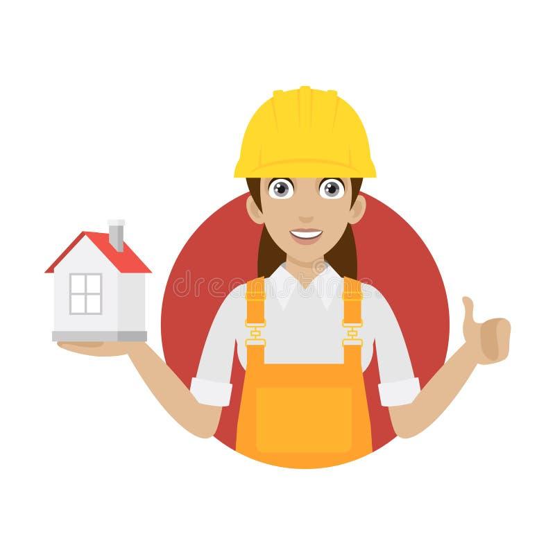 La femme de constructeur maintient la maison dans le cercle illustration stock