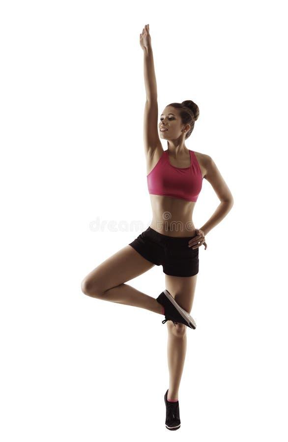 La femme de forme physique soulève le bras, exercice de séance d'entraînement d'aérobic de sport image stock