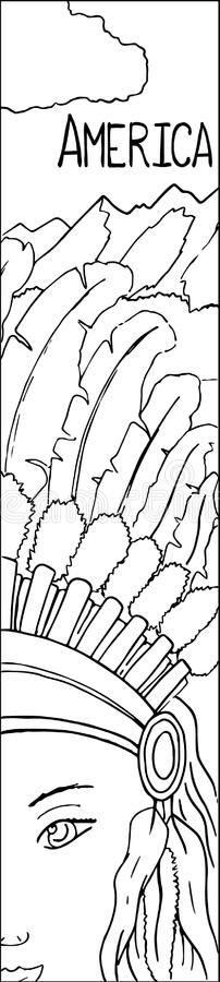 La femme de natif américain dans le casque tribal de plume a décrit l'illustration illustration de vecteur