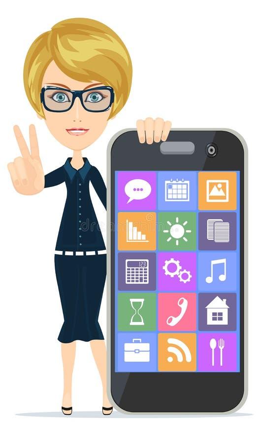 La femme de sourire se dirige sur le smartphone se tenant sur le fond blanc, illustration libre de droits