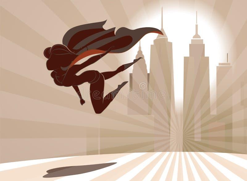 La femme de super héros vole bas au-dessus de la terre sur le fond de ville illustration stock