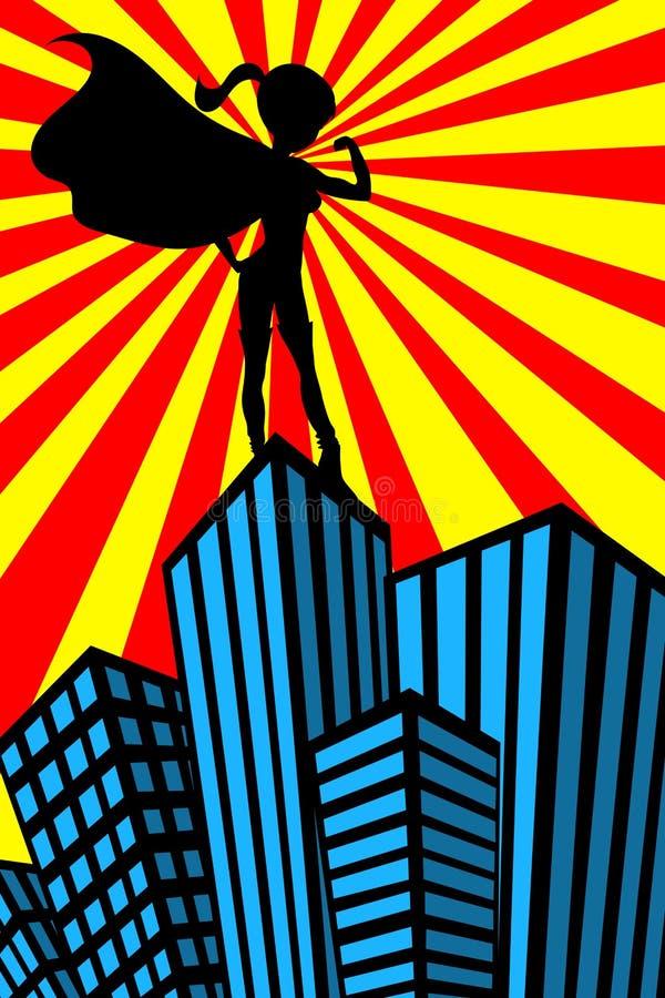 La femme de superhéros Muscles des gratte-ciel de silhouette illustration libre de droits