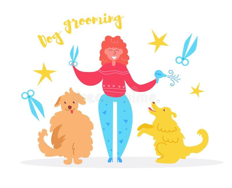 La femme de toilettage de chien avec des ciseaux dans le cheveu-dessiccateur et deux chiens dirigent cartoon Art d'isolement sur  illustration de vecteur