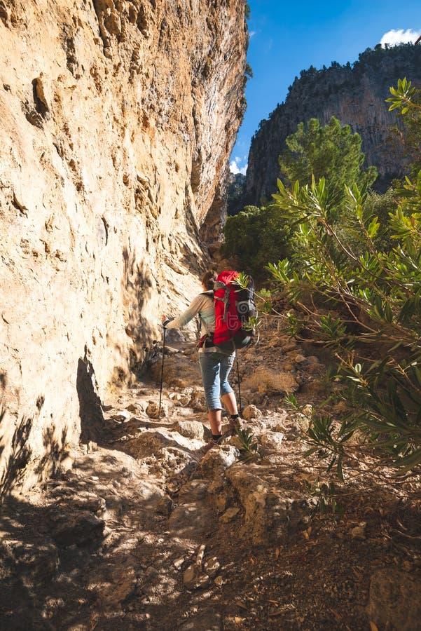 La femme de voyageur s'élève le long de la gorge étroite de montagne photo stock