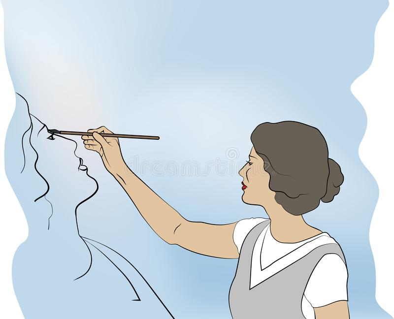 La femme dessine l'autoportrait sur le fond de la couleur de ciel image libre de droits