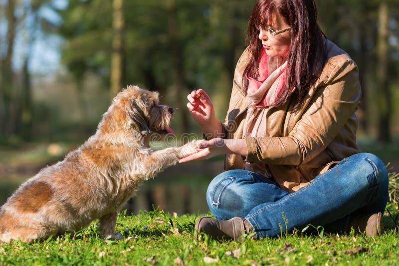 La femme donne à chien un festin et obtient la patte photo libre de droits