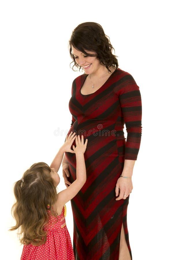 La femme enceinte en rouge et le noir habillent regarder le touchi de fille photographie stock