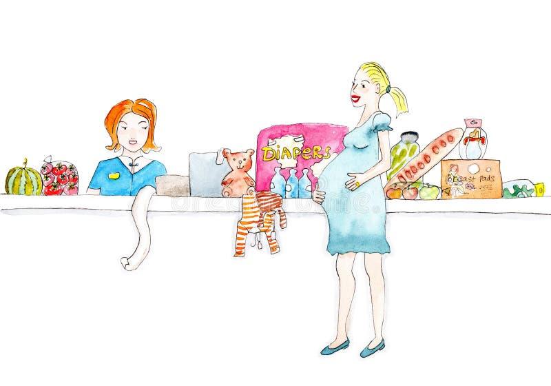 La femme enceinte fait des emplettes dans la peinture d'aquarelle de supermarché image libre de droits