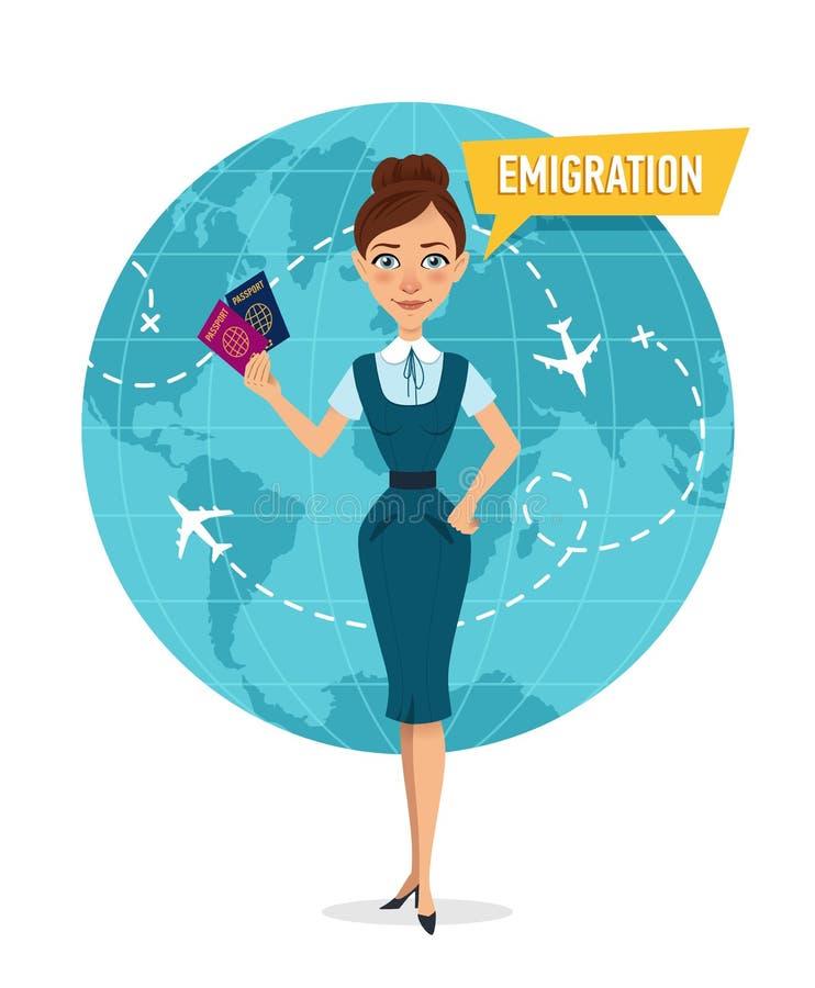 La femme est tenante et tenante des passeports Femme parlant au sujet de l'émigration illustration stock
