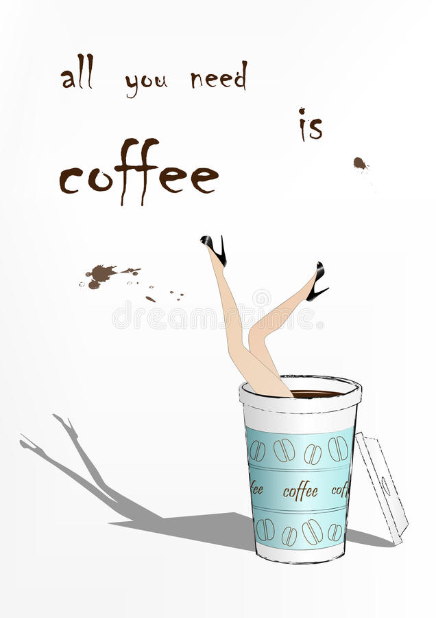 La femme est tombée dans la tasse de café de papier bleue, illustration de vecteur de mode illustration stock