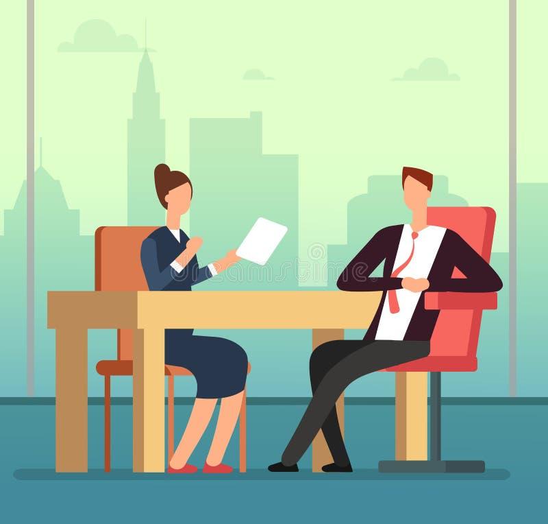 La femme et l'interviewer des employés dirigent la réunion au bureau Concept d'entrevue d'emploi et de bande dessinée de vecteur  illustration stock