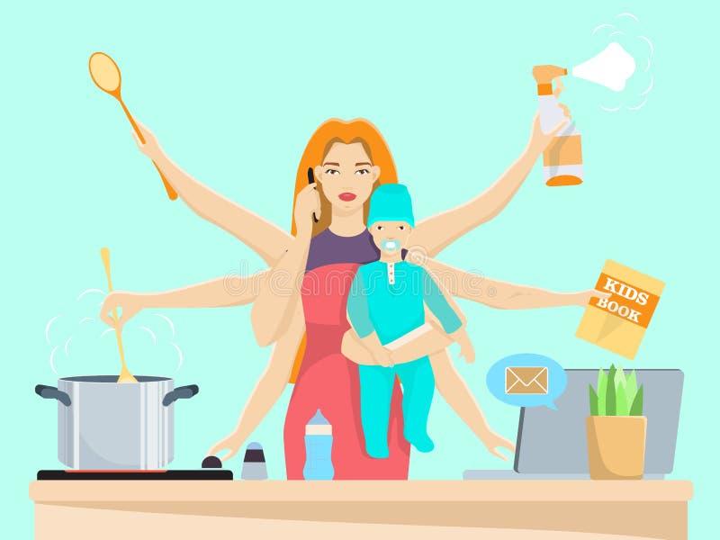 La femme et la maman multitâche occupées avec le bébé dirigent l'illustration plate illustration de vecteur