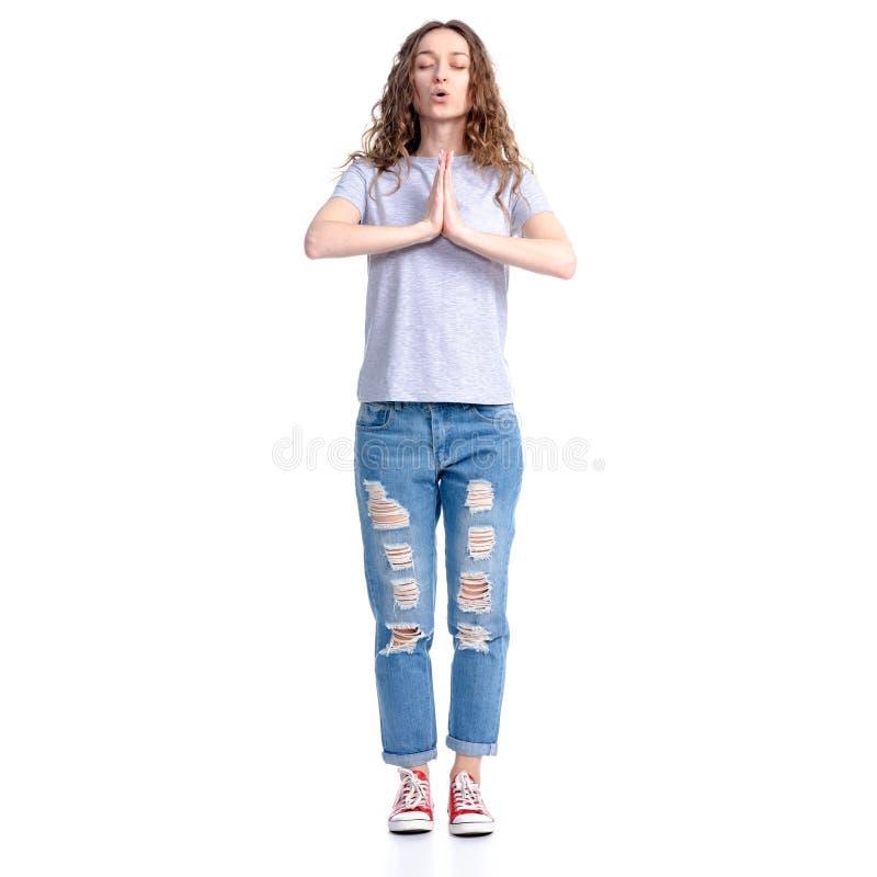 La femme exhale calme vers le bas photographie stock libre de droits
