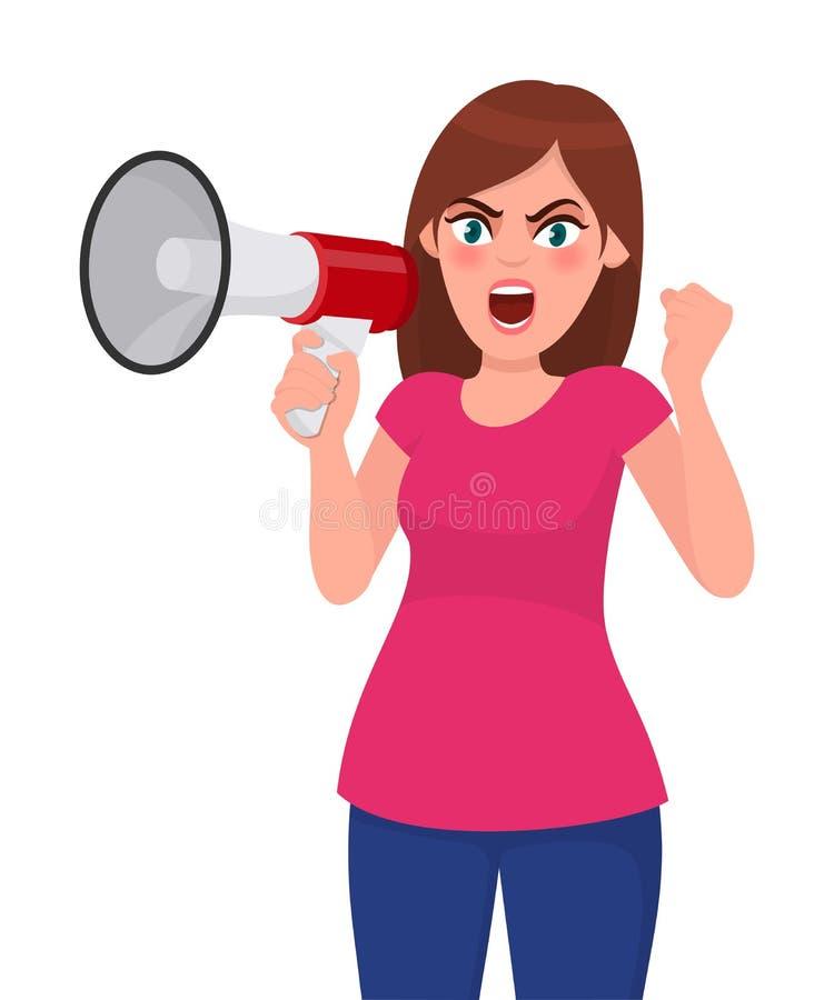 La femme fâchée tenant un mégaphone/haut-parleur bruyant, soulevant le poing et criant ou de cri des yeux bruyants de moment s'es illustration de vecteur