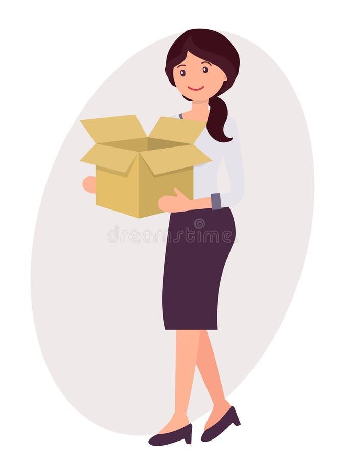 La femme féminine de conception de personnage de dessin animé portent la boîte de papier vide avec illustration de vecteur