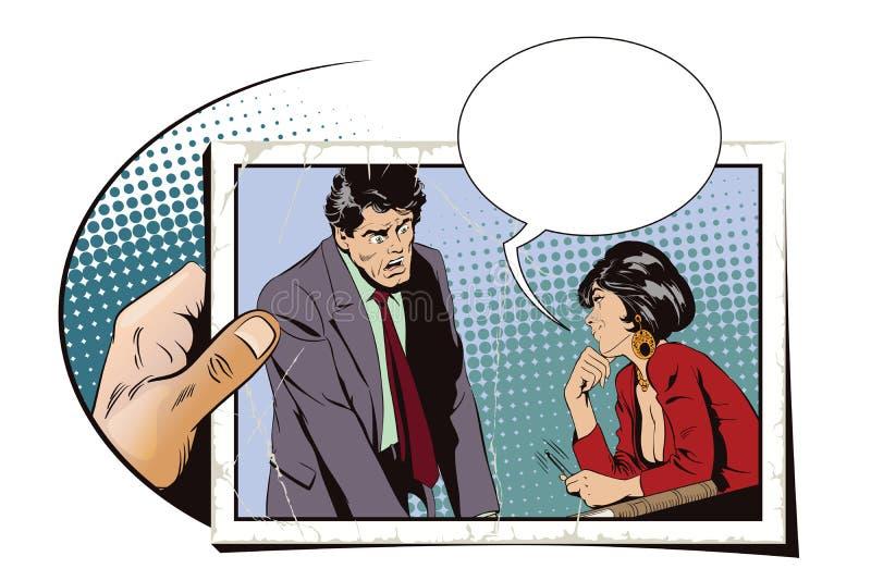 La femme flirte avec un type au travail Illustration courante Les gens illustration de vecteur
