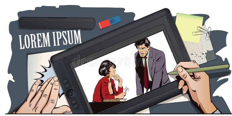 La femme flirte avec un type au travail Illustration courante Les gens illustration stock