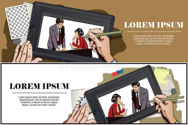La femme flirte avec un type au travail Illustration courante Les gens illustration libre de droits