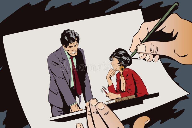 La femme flirte avec un type au travail ion Les gens illustration de vecteur