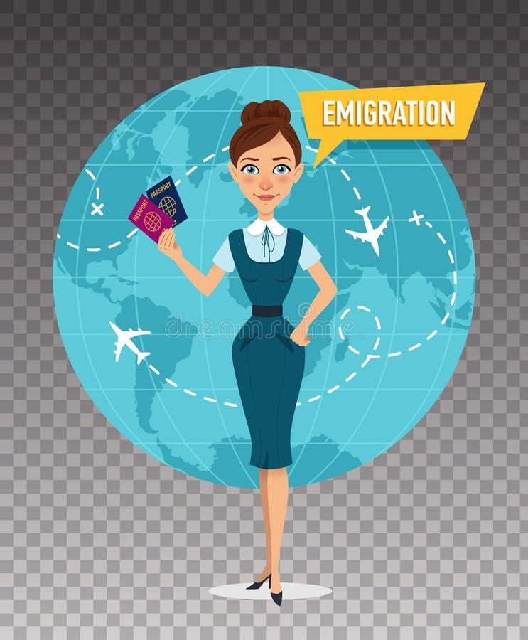La femme garde des passeports et parle au sujet de l'émigration illustration de vecteur
