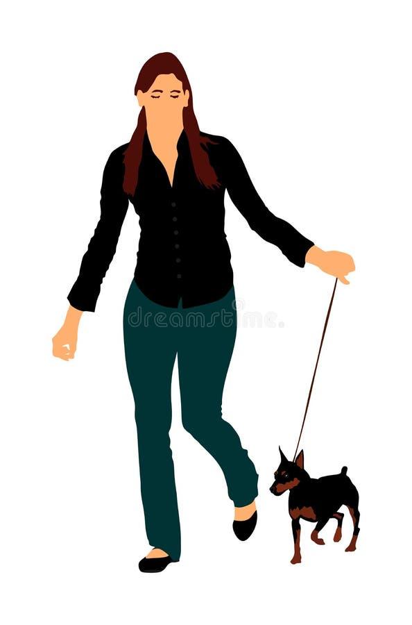 La femme garde le chien miniature de Pincher sur la laisse Détendez le temps après travail avec l'animal familier illustration stock