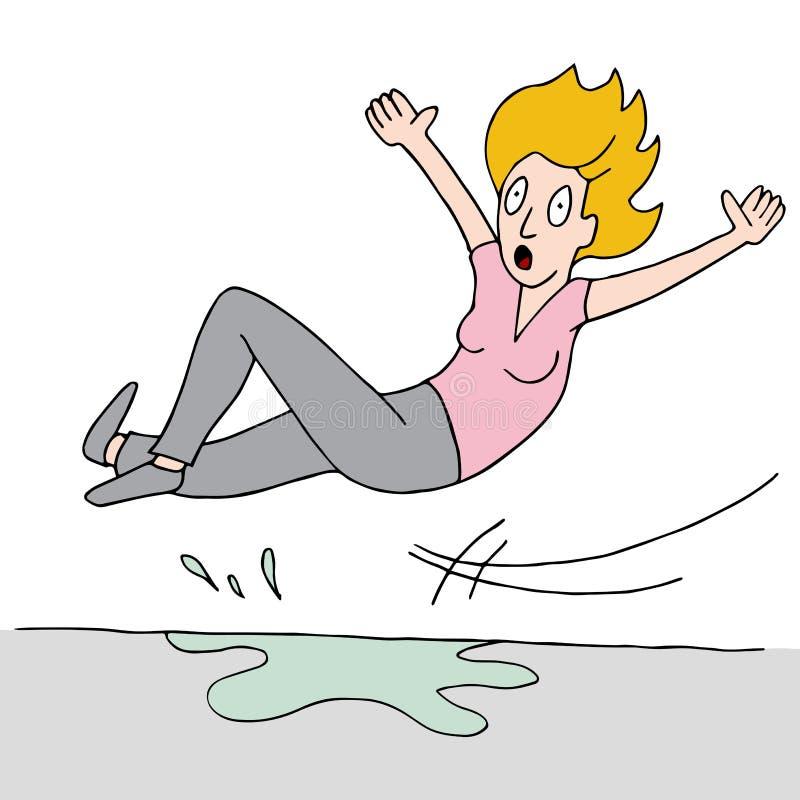 La femme glisse sur le plancher humide illustration de vecteur