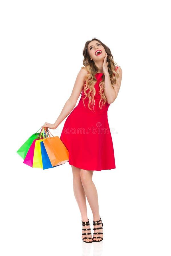 La femme heureuse dans la robe rouge avec les paniers colorés est riante et recherchante photos stock