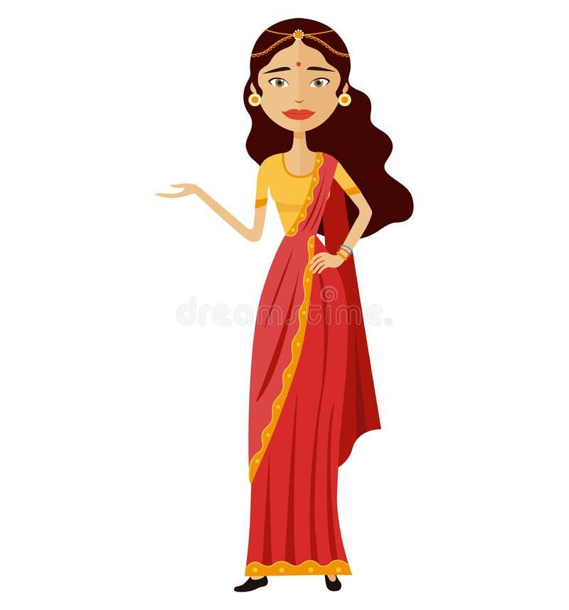 La femme indienne présente à quelque chose le vecteur illustration plate de bande dessinée illustration stock