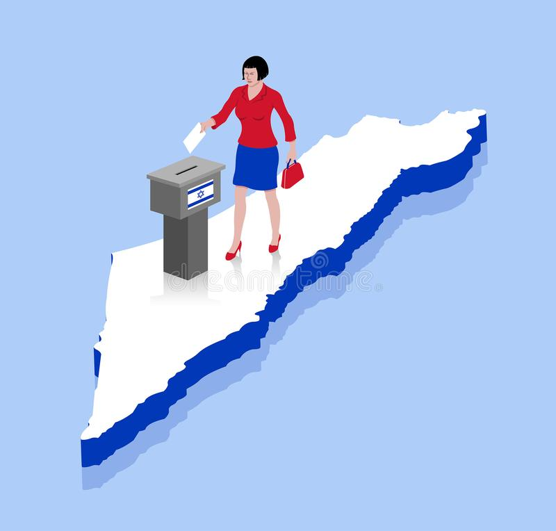 La femme israélienne votent dans l'urne au-dessus d'une carte de l'Israël illustration libre de droits