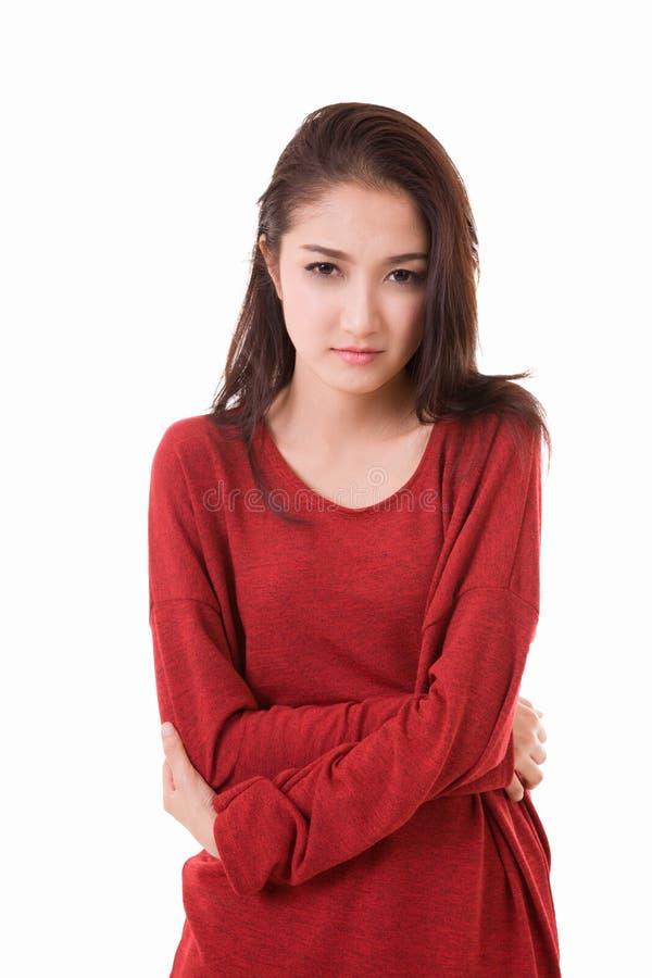 la femme a le sentiment de mal de ventre douloureux et inconfortable photo stock image 58806094. Black Bedroom Furniture Sets. Home Design Ideas