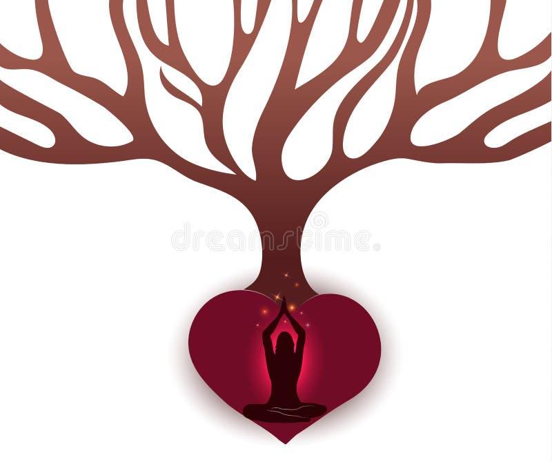 La femme méditent sous le grand arbre illustration de vecteur
