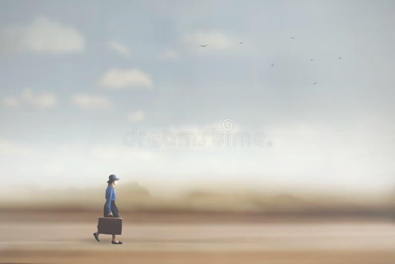 la femme marche vers le chemin de la liberté photographie stock
