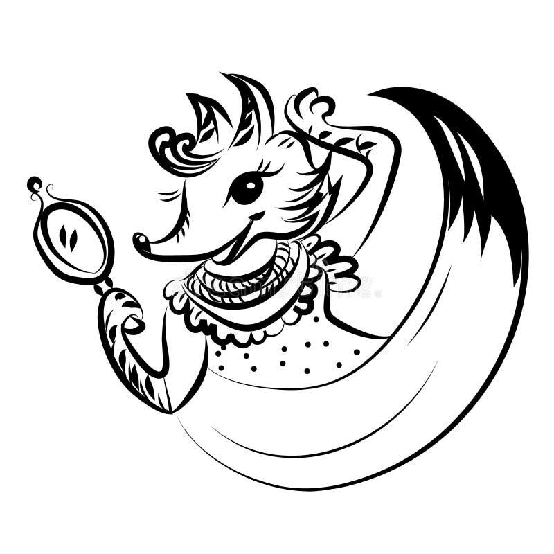 La femme mignonne de renard dans une robe regarde elle-même dans le miroir Vecteur noir et blanc pour la carte ou le cadeau, pour illustration de vecteur