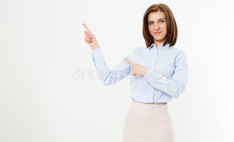 La femme moderne amicale d'affaires s'est dirigée sur le fond blanc de l'espace de copie - fille de point images libres de droits