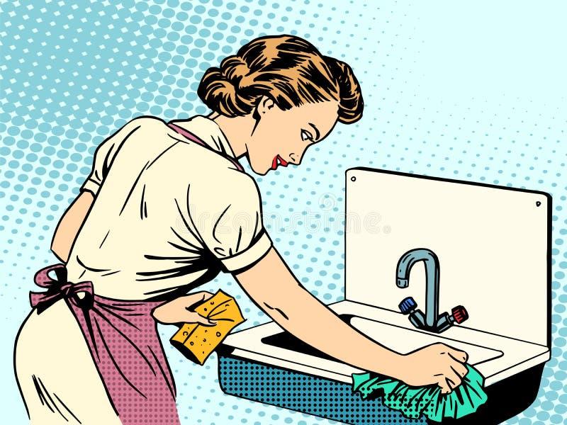 La femme nettoie la femme au foyer de propreté d'évier de cuisine illustration stock