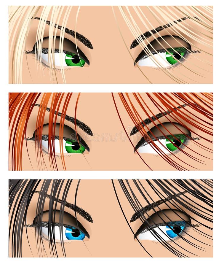 La femme observe différentes couleurs illustration stock