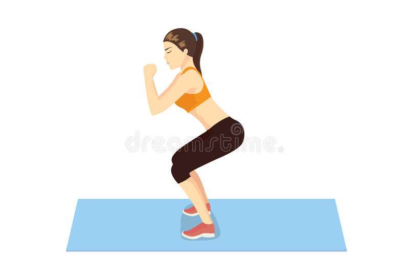 La femme obtiennent le bout et les jambes parfaits avec la séance d'entraînement accroupie illustration de vecteur