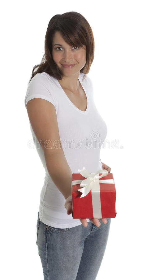 La femme offre un présent photos libres de droits