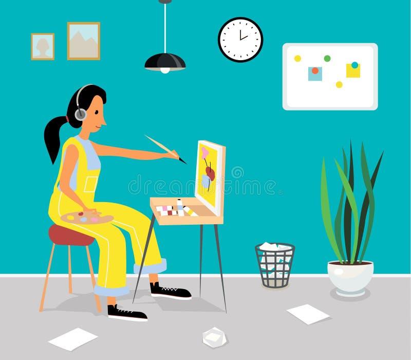 La femme peint le tableau sur le chevalet artiste de peinture à l'huile illustration stock