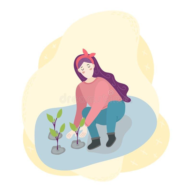 La femme a planté des jeunes plantes dans la terre Plantation, moisson, faisant du jardinage Sc?ne de travail de r?colte d'agricu illustration de vecteur