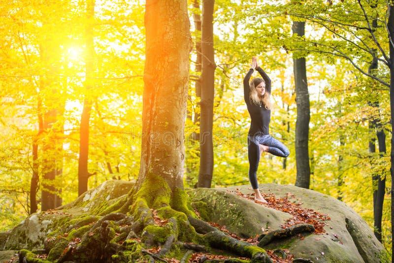 La femme pratique le yoga dans la forêt d'automne sur la grande pierre photo stock
