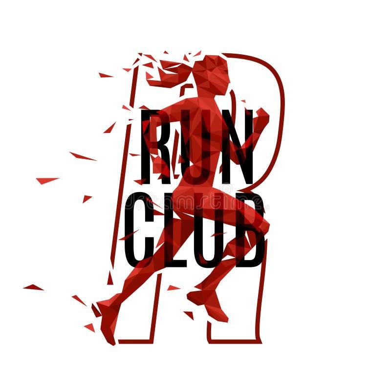 La femme pulsante dirigent le logo pour le centre de fitness ou folâtrent l'emblème de mode de vie illustration de vecteur